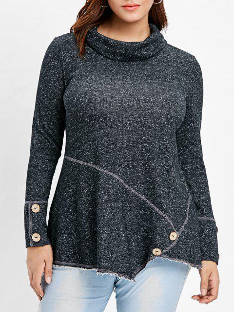 Plus Size Turtleneck Asymmetrical T-shirt - DARK GRAY 3X