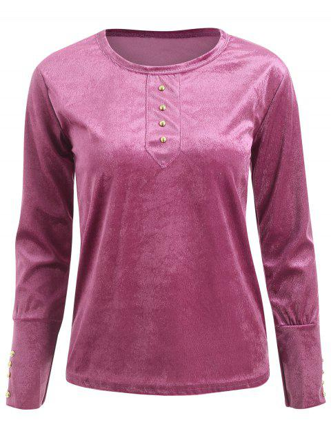 Button Velvet T Shirt - LIGHT PINK XL