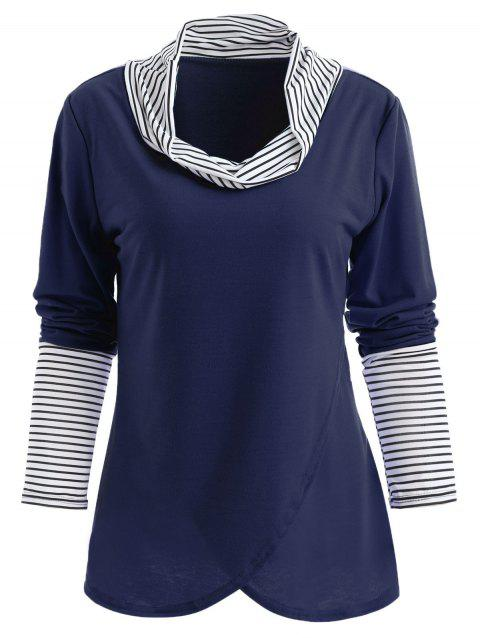 Stripe Panel Cowl Neck Long Sleeve T-shirt - DEEP BLUE M
