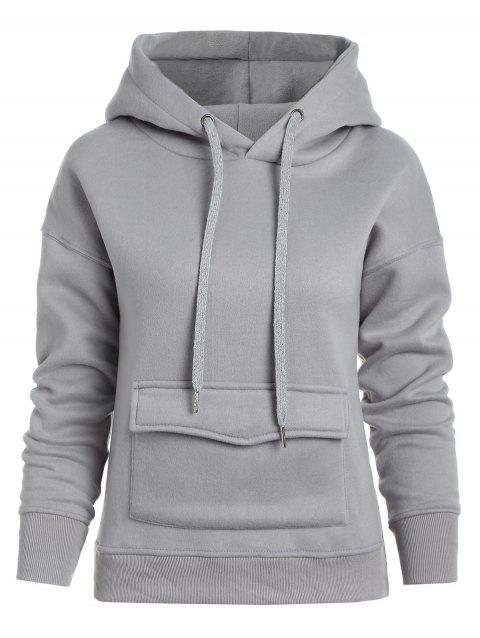 Pullover Hoodie with Front Pocket - GRAY XL