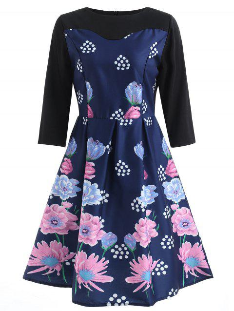 Floral Print High Waist Flare Dress - DEEP BLUE M