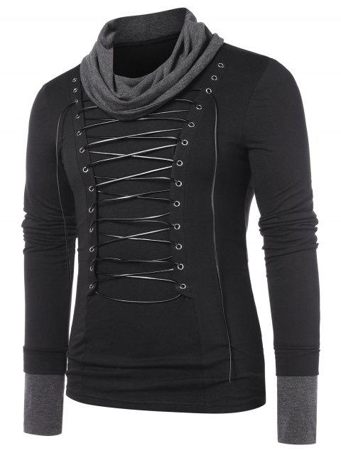 Turtle Neck Color Block Lace Up T-shirt - BLACK XL