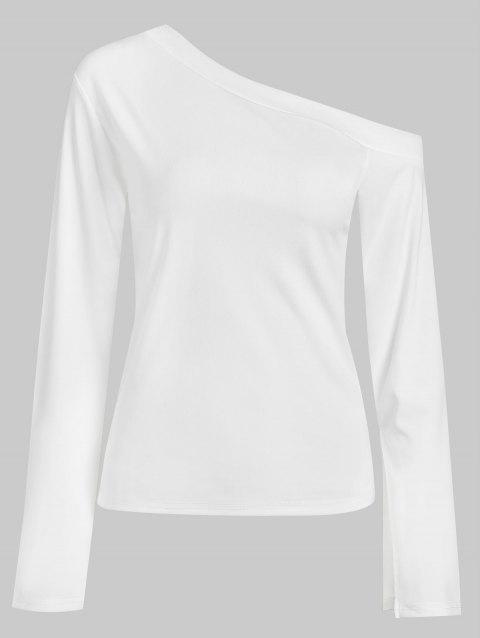 Long Sleeve Tee with Skew Neck - WHITE L