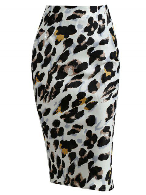 Leopard Print High Waist Skirts - multicolor XL