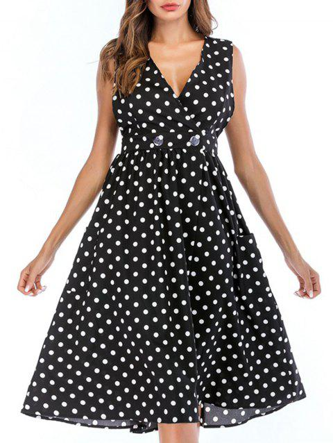 Polka Dot V Neck A Line Dress - BLACK XL