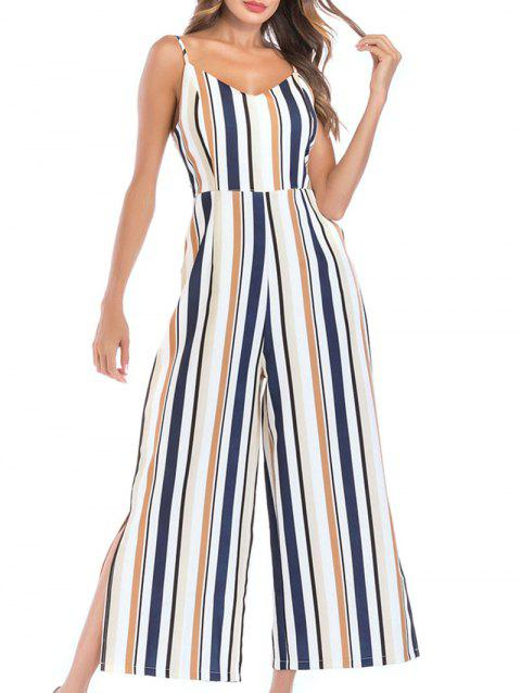 Spaghetti Strap Striped Wide Leg Jumpsuit - multicolor M