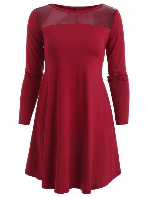 Sheer Mesh Panel Mini Dress - Châtaigne Rouge S
