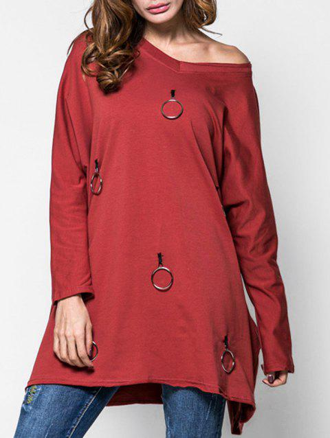 Metal Circle V Neck Tunic Sweatshirt - RED WINE 2XL