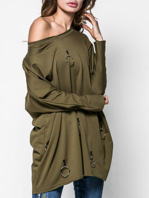Metal Circle V Neck Tunic Sweatshirt - ARMY GREEN M