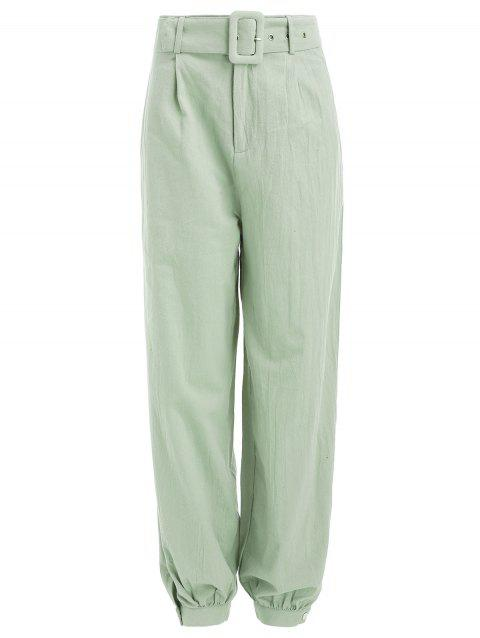 High Waist Belted Harem Pants - CAMOUFLAGE GREEN L