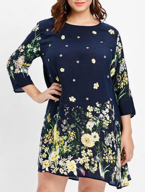 Plus Size Round Neck Floral Print Dress - CADETBLUE 1X
