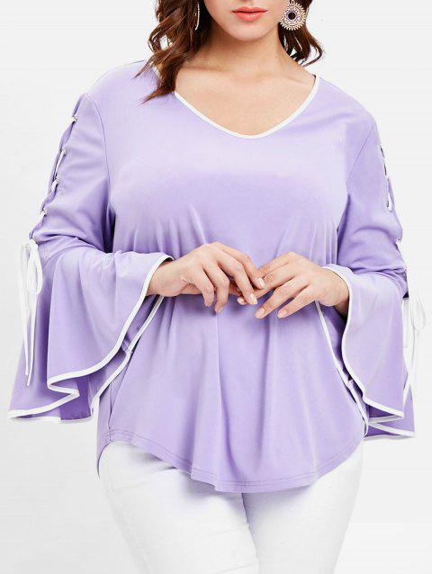 Round Neck Plus Size Lace Up Flare Sleeve T-shirt - PURPLE MIMOSA 1X