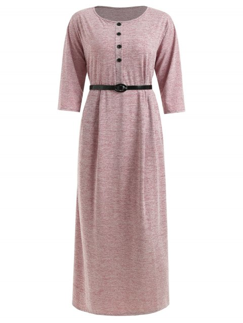 Plus Size Half Button Maxi T-shirt Dress - RED WINE L