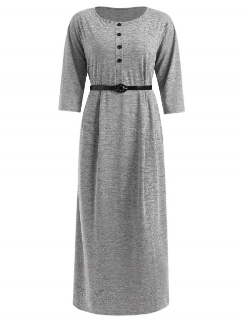 Plus Size Half Button Maxi T-shirt Dress - LIGHT GRAY 1X