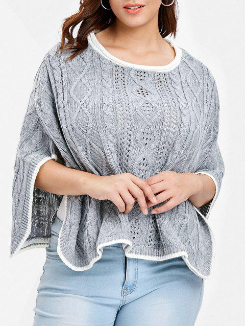 Cable Knit Plus Size Pullover Sweater - GRAY ONE SIZE