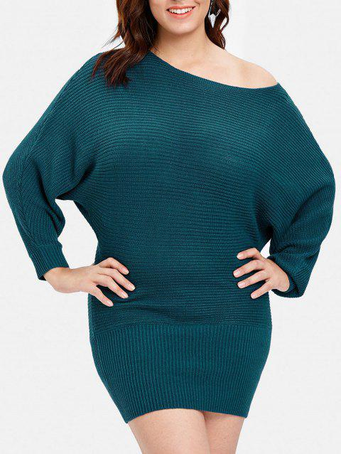 Plus Size Long Sleeve Pullover Sweater - BLUE L