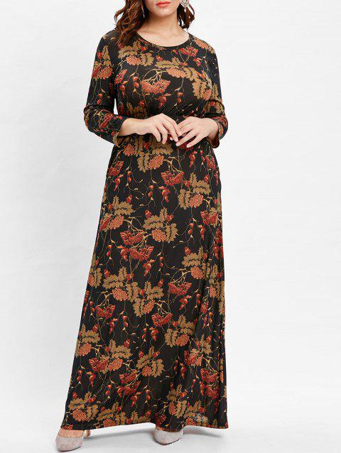 Plus Size Long Sleeve Printed Floor Length Dress - DEEP BROWN 3X