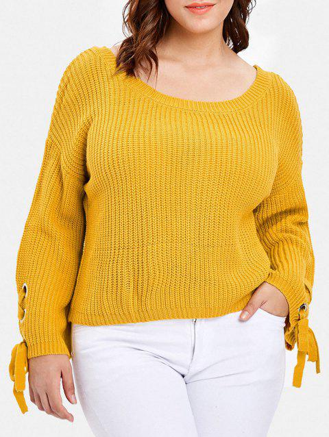 Plus Size Drop Shoulder Lace Up Sleeve Sweater - YELLOW 1X