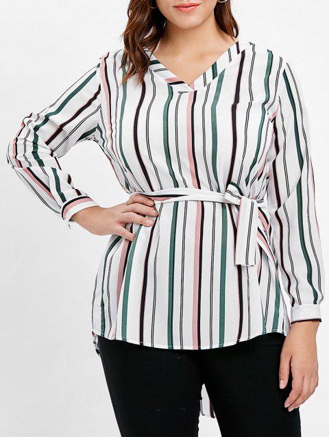 Plus Size Belted Stripe High Low Shirt - WHITE 1X