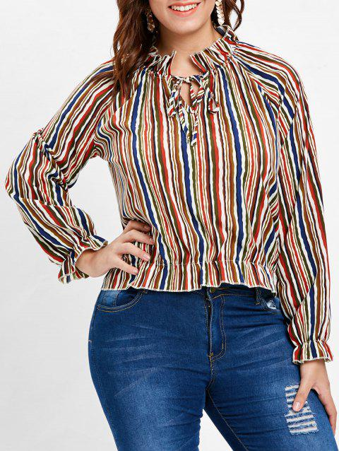 Long Sleeve Plus Size Striped Blouse - multicolor 2X