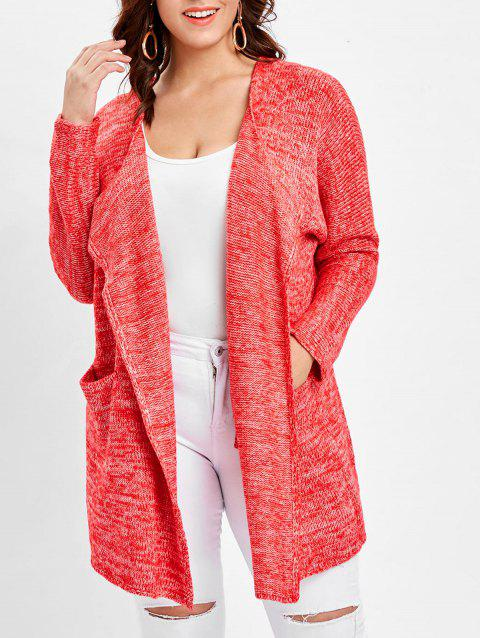 Plus Size Front Pocket Cardigan - BEAN RED ONE SIZE