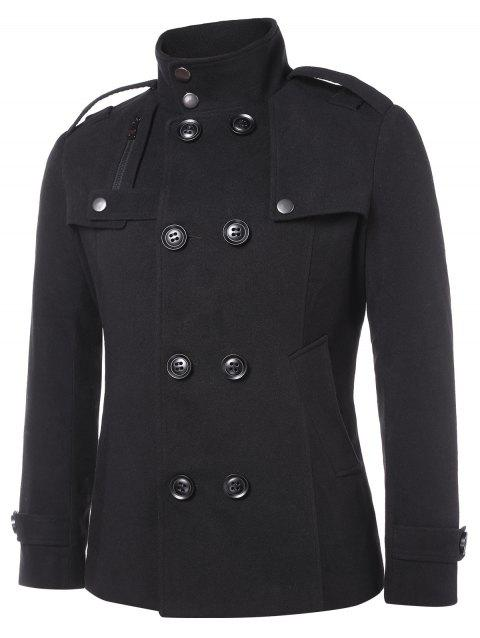 Solid Double Breasted Stand Collar Coat - BLACK M