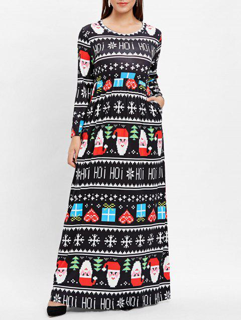 Plus Size Christmas Print Maxi Dress - BLACK 2X