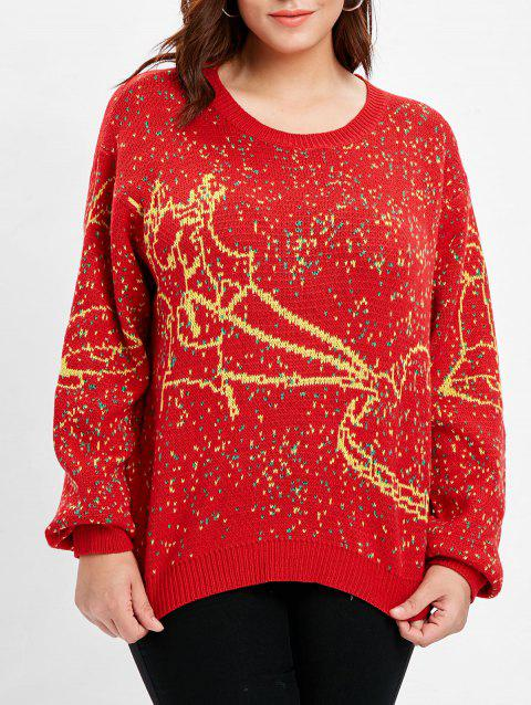 Plus Size Christmas Sled Sweater - RED ONE SIZE