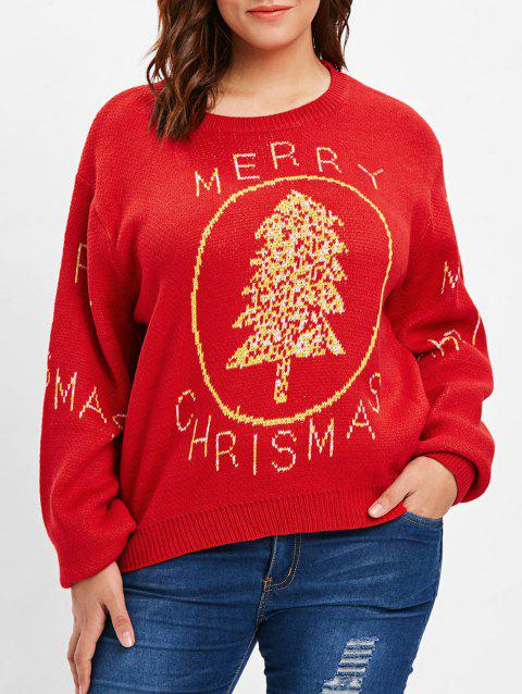 Plus Size Merry Christmas Sweater - RED ONE SIZE