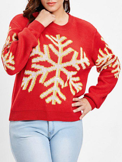 Plus Size Snowflake Christmas Sweater - RED ONE SIZE