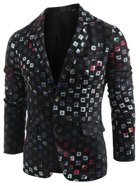 Geometric Printed Single Breasted Lapel Collar Blazer - BLACK XL
