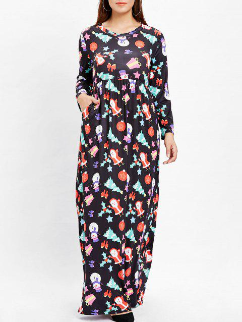 Christmas Plus Size Printed Maxi Dress - BLACK 1X