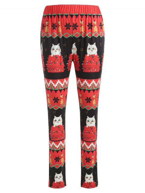 Christmas Cat Print Fitted Leggings - multicolor L