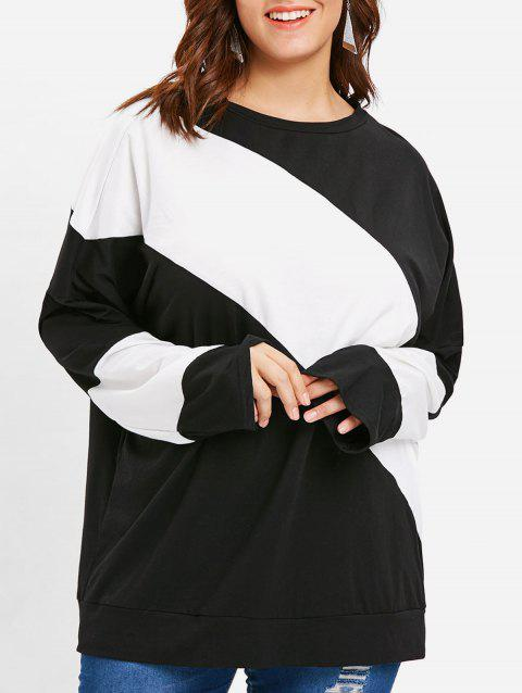 Plus Size Two Tone Round Neck Plain T-shirt - BLACK 3X