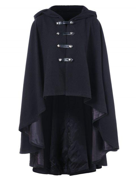 Double Breasted High Low Hooded Cape Coat - BLACK XL