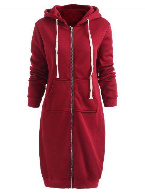 Zip Up Long Hoodie Dress - RED WINE L