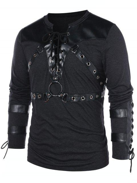 Round Hole Embellished Lace Up T-shirt - BLACK M