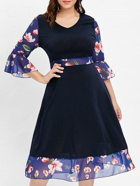 Bell Sleeve Plus Size Floral Print Dress - CADETBLUE 1X