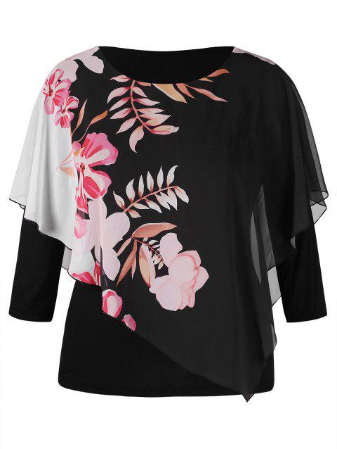 a6c03541 17% OFF] 2019 Plus Size Floral Print Overlay T-shirt In BLACK 2X ...