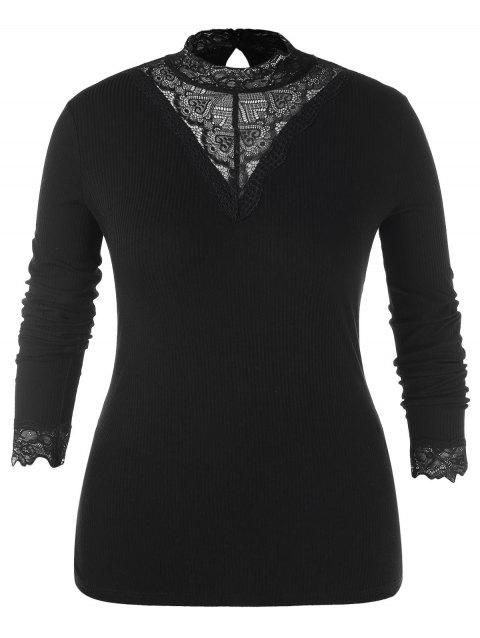 Plus Size Mock Neck Lace Splicing Long Sleeves Top - BLACK L