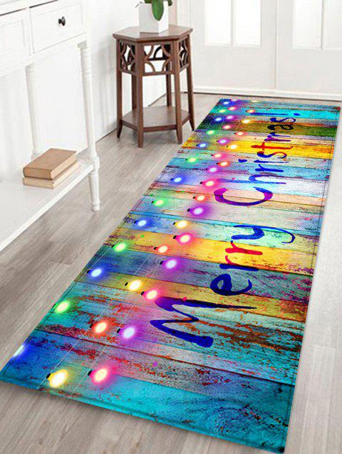 Merry Christmas Lights Tapis en grain de bois - multicolor W16 X L47 INCH