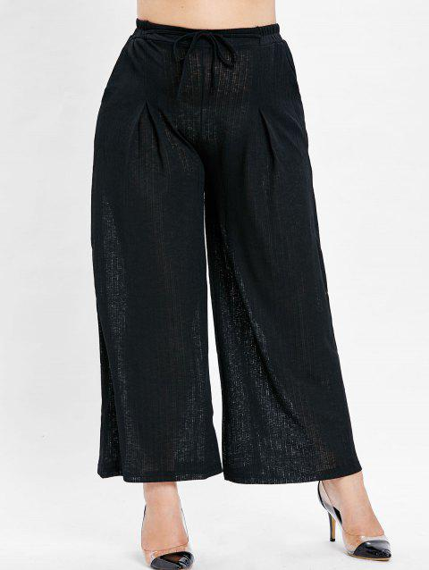 Plus Size Wide Leg Palazzo Pants - BLACK 4X