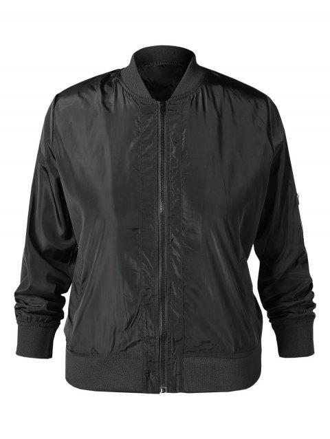 Plus Size Zip Up Pilot Jacket - BLACK L