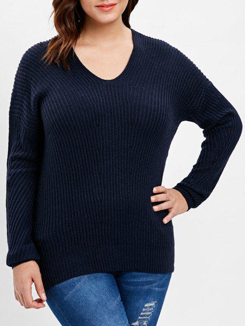 Plus Size Back V Ribbed Sweater - DARK SLATE BLUE L