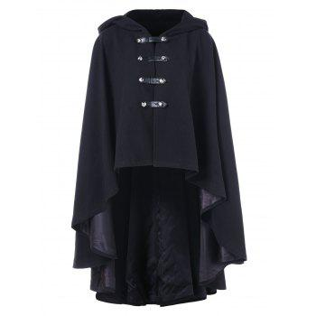 "<P>Double Breasted High Low Hooded Cape Coat</P><I Class=""Icon Down Js Tap Up Down""></I> by Dress Lily"