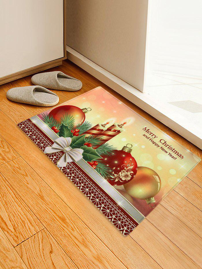 Christmas Candle Fleece Floor Mat - multicolor W16 X L24 INCH