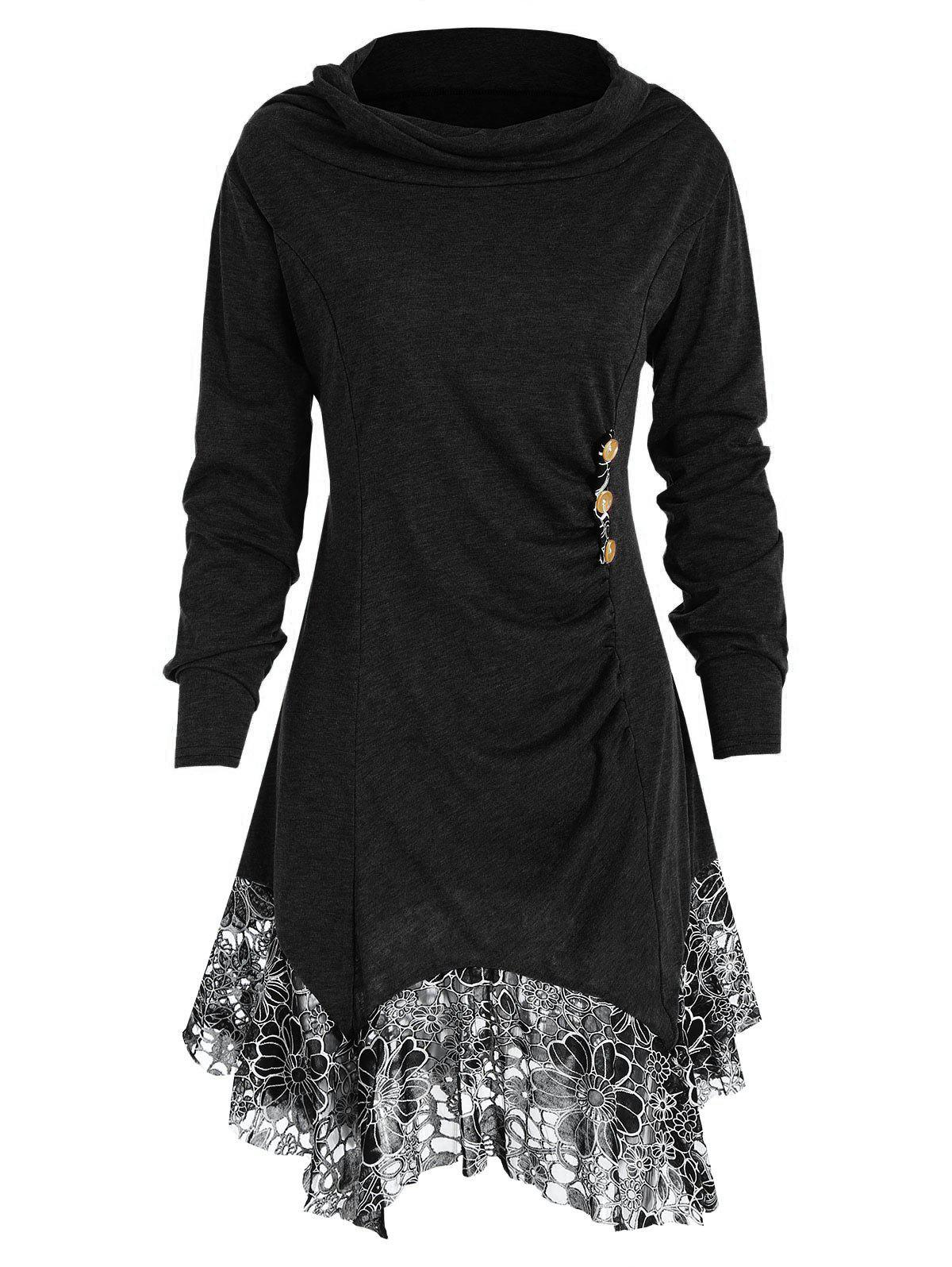 Long Sleeve Lace Trim Tunic T-shirt - BLACK XL