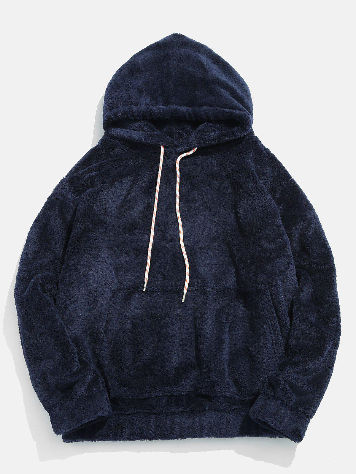 Pouch Pocket Patch Detail Fluffy Hoodie - MARBLE BLUE 2XL