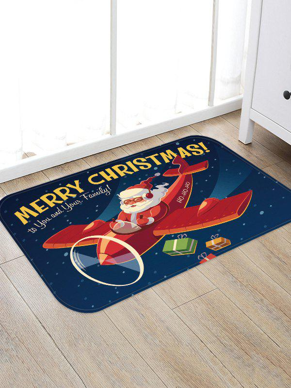 Plane and Santa Claus Printed Area Rug - multicolor W16 X L24 INCH