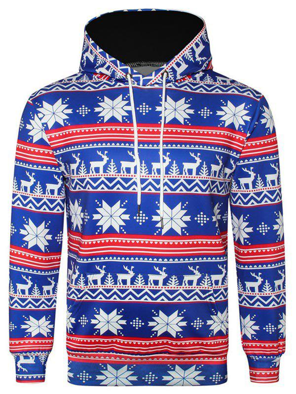 Allover Snowflake Print Big Pocket Hoodie - OCEAN BLUE XL